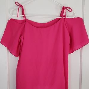Tops - Pink Off Shoulder Chiffon Blouse